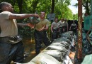 Louisiana Guardsmen construct flood barriers in CENLA