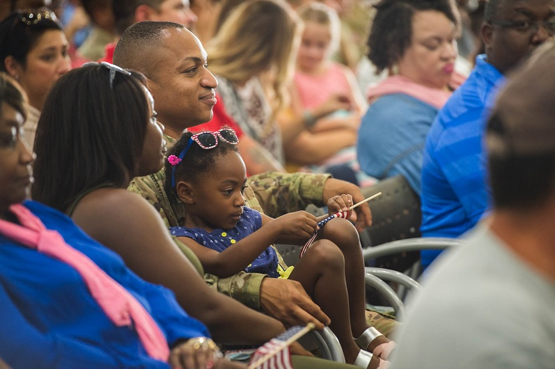 Louisiana National Guardsmen of the 1st Assault Helicopter Battalion, 244th Aviation Regiment bid farewell to family and friends during a deployment ceremony at the Army Aviation Support Facility #1 in Hammond, Louisiana, Oct. 6, 2017. The Hammond-based unit deployed more than 140 Soldiers to Kuwait and other locations in the region to provide aerial medical evacuation and equipment and personnel transport in support of Operations Spartan Shield and Inherent Resolve. (U.S. Army National Guard photo by Staff Sgt. Josiah Pugh)